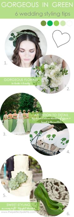 6 Wedding Styling Tips | Gorgeous in Green http://www.theperfectpalette.com/2013/10/6-wedding-styling-tips-green-wedding.html