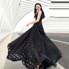 Black O-Neck Solid Floor-Length Maxi Dress #Dress #Black #Solid #Floor-Length #Party