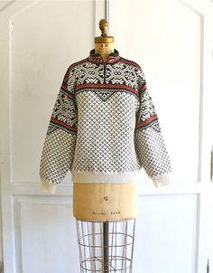 vintage snowflake sweater chunky Nordic ski sweater by bohemiennes, $45.00