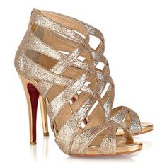 Christian Louboutin Stiletto Heel Open Toe Metallic Leather Platforms Sandals with Back-zipper