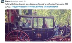 October 21, 2014 - One young lady along the carriage procession was excited to see the Duchess. Stacey Castiel's tweet can be seen in a screen grab below.  Twitter Feed