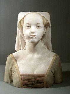 Alabaster sculpture, Gerard Mas, via Daily Art Muse Contemporary Sculpture, Contemporary Artists, Modern Art, Statues, Muse Kunst, Art Quotidien, Medieval Girl, Art Du Monde, Instalation Art