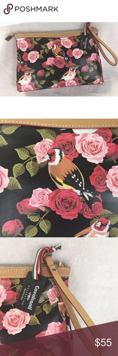 """Cavalcanti leather collection bird Floral clutch Beautiful leather clutch!  Floral and bird pattern. New with tags.                 Length 12""""  Width 3"""" at the base of the bag  Height 8.25"""" Cavalcanti Bags Clutches & Wristlets"""