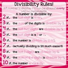 ★♥★ #Maths for kids - #Divisibility Rules Poster ★♥★  Being familiar with divisibility is SO important in a middle school math classroom. Use this printable to make a #poster to hang in your #classroom #numbers #Math #learning #logic #games   #Mathematic #OMG #WTF #number #science #theory #tips #Trick #Goodies #Stuff   #Funny #Fun #amazing