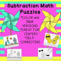Do your young elementary students need a break from traditional math subtraction problems? These math puzzles are the answer to traditional worksheets. They can be used as part of a center, morning work, or seatwork. I hope your students enjoy these math activities as much as mine do!