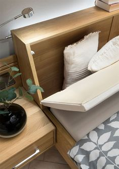 specialises in contemporary beds, designer beds, modern oak beds, wardrobes and contemporary bedroom furniture throughout the UK. Bed Headboard Storage, Bed Headboard Design, Headboards For Beds, King Size Bed Designs, Double Bed Designs, Room Design Bedroom, Home Room Design, Box Bed Design, Bed Designs With Storage