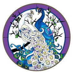"""White Blue Peacocks 21"""" Round Stained Glass Art Panel 