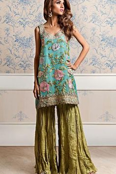 Floral Aqua Blue with Sharara - Meerats.com - Customized Pakistani Dresses, Made to Order, Affordable dresses, Pakistani Formal/Pret Wear, Embroidered Dress. Visit www.Meerats.com to place an order