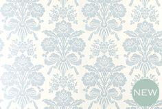 Tatton Seaspray Blue Damask Wallpaper