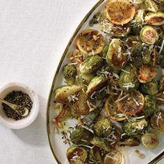 Speed up roasting vegetables, like these lemon-and-thyme-infused Brussels sprouts, by cooking them on two large baking sheets instead of just one.