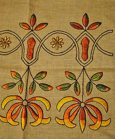 1915's ARTS AND CRAFTS SQUARE PILLOW COVER EMBROIDERED STYLIZED FLORAL MOTIFS