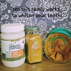 I tried this this morning and.....I am so please to say that this really does whiten your teeth! It's so odd that this yellow/orange root will stain fabric but has the reverse effect on your teeth. Here is what I did. 1. mix 1 part coconut oil to 2 parts turmeric 2. brush your teeth with mix (you don't need the entire mix just a regular amount that you'd normally brush with) for 1.5 minutes 3. try to keep it from splattering because it will stain! Or even staying on your lips and mouth. It…