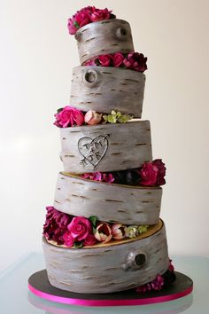 Bark Initial Wedding Cake   This Modern Version has more of a Grey toned 'Bark' with an almost yellow center; a very Current Colour Scheme.