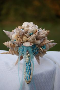 Beach Wedding Pastel Seashell Sea Urchin Bouquet Shell Bouquets Nautical Weddings Bridal Decor Natural Everlasting Keepsake Bridesmaid Bride