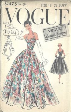 1956 Vintage VOGUE Sewing Pattern B36 EVENING DRESS by tvpstore