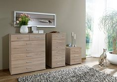 German Imago Berlin Oak Bedroom Furniture 3 Drawer Bedside Cabinet