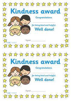 Twinkl Resources >> Kindness Award Certificate  >> Classroom printables for Pre-School, Kindergarten, Primary School and beyond! kindness, award, reward, celebration, encourage