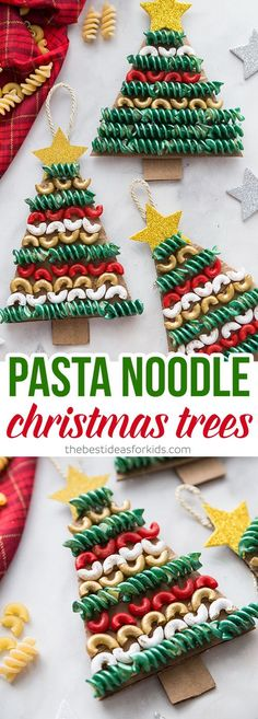 Arbre de Noel avec des pâtes pour cuisson PASTA NOODLE CHRISTMAS TREE ORNAMENTS - Love how easy and fun these are to make! Kids will have fun painting and putting them together. It's a perfect Christmas craft for kids and adults too! Preschool Christmas, Christmas Activities, Christmas Art, Simple Christmas, Christmas Tree Ornaments, Christmas Gifts, Christmas Crafts For Kindergarteners, Christmas Snacks, Christmas Tree Decorations For Kids