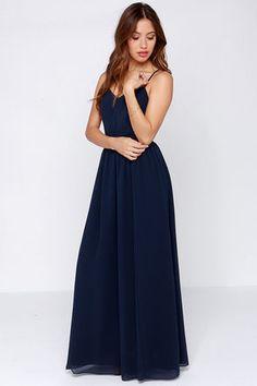 Navy Blue Dress - Maxi Dress - Cut Out Dress - $95.00