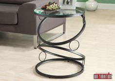 Matte Black Metal Accent Table w/ Tempered Glass - Monarch Specialties a contemporary appeal to your space with this matte black accent table. Its unique, connecting circle designed base definitely that accentuates this piece.