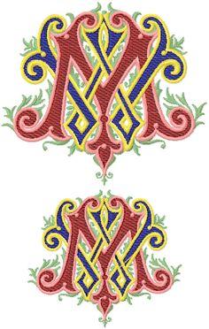 Ornamental Monogram Machine Embroidery Font