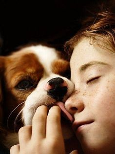 A girl and her dog, so sweet!