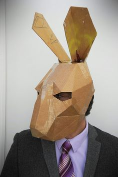 Make your own hare mask from recycled card *** Cheap downloadable DIY template ! **** So cute ♥