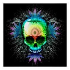Shop Psychedelic Skull Posters created by Bluedarkat. Crane, Pop Art, Totenkopf Tattoos, Stoner Art, Skull Wallpaper, Weed Wallpaper, Sugar Skull Art, Sugar Skulls, Skull Artwork