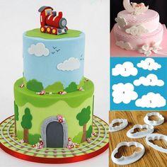 Cheap 5 Unids/lote Nube Plástico Cortador Fondant Cake Cookie Cutter Molde…
