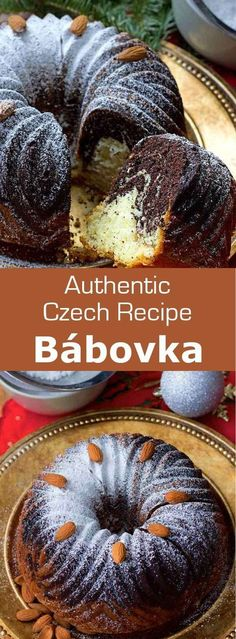 Bábovka is a delicious traditional Czech cake that usually consists of a layer of vanilla cake and a layer of chocolate cake.