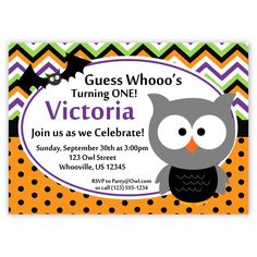 Halloween Invitation - Purple Green Orange Chevron, Black Polka Dots Owl n Bat Personalized Birthday Party Invite - a Digital Printable File. $15.00, via Etsy.