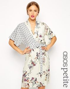 Enlarge ASOS PETITE Pencil Dress with Drape Top in Floral and Bird Print
