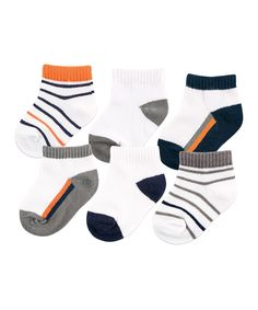Look at this #zulilyfind! Yoga Sprout Orange & Charcoal Stripe Six-Pair No-Show Socks Set by Yoga Sprout #zulilyfinds