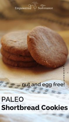 Paleo Shortbread Cookies, made with coconut flour. These melt in your mouth, and are only 5 ingredients!