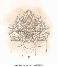 Lotus flower mandala design tattoos - Comment dessiner une fleur de lotus ...