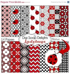SALE 33 Off Ladybug Digital Papers Red Black  by DigiScrapDelights