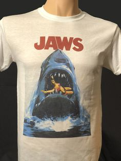 23ea8f1f Details about Jaws Movie T Shirt Retro Vintage Great White Shark 80's  Steven Spielberg