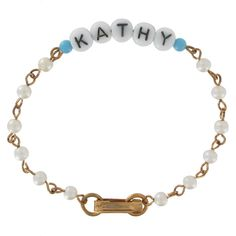 Name Bracelet Blue Glass Faux Pearls Kathy Rita by KensieKitsch