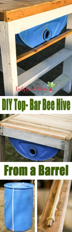 DIY top bar hive from a barrel. A step by step picture tutorial on how we made our top bar bee hive. It is a fairly easy project and very inexpensive. Can be completed in just a few hours.   #LadyLee'sHome #bees #beehive #beekeeping #homesteading #topbarbeekeeping #topbarbeehive #beehiveplans #diybeehive