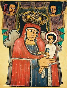 Virgin and Little Jesus with Angels. Ethiopian painting.