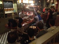 Everyone's paying careful attention to the competition at the South West London Espresso Martini Competition in Balham.