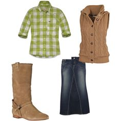 """""""green 'fall'age"""" by aaronjillthomas on Polyvore -- a red shirt would be prettier. <3"""