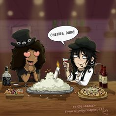 Slash & Izzy Welcome To The Jungle, Guns N Roses, Cheer, Anime, Art, Art Background, Humor, Guns And Roses, Anime Shows