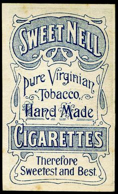 Cigarette Card Back - Sweet Nell Cigarettes by cigcardpix