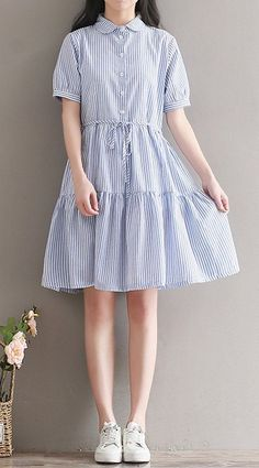 Women loose fit over plus size dress stripes button skater skirt fashion trendy #Unbranded #dress #Casual