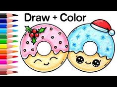 nice How to Draw + Color Christmas Donuts step by step Easy and Cute Cute Easy Drawings, Cute Kawaii Drawings, Kawaii Doodles, Cute Doodles, 365 Kawaii, Kawaii Art, Drawing Cartoon Characters, Cartoon Drawings, Cartoon Illustrations