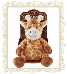 aroma home Cozy Hottie Giraffe. It's hidden, grain-filled insert surprise means you'll love it too - pop it in the microwave for 30 seconds and lie back as it slowly releases a soothing warmth, drawing your little rascal into a peaceful sleep in no time! One sniff off the luxurious and relaxing smell of lavender, and you'll want one all for yourself! Product Info: Cuddly toy with heatable insert. Super soft fabric. Insert fragranced with calming lavender. Dimensions: 13cm x 23 x 12.  $19.95