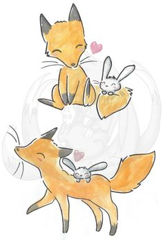 fox and bunny side by side - Google Search