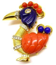 HATTIE CARNEGIE 'Primitives on Parade' Faux Coral & Lapis 'Dodo Bird' Pin