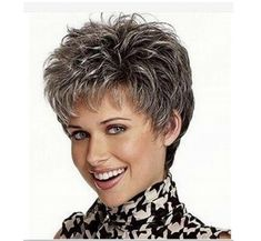 Compra picture color hot sale hair Curly products Beautiful boy cut Short pixie wigs for women style Synthetic Gray hair wig with bangs 2086 en Wish- Comprar es divertido Grey Hair Wig, Short Grey Hair, Short Blonde, Short Hair Cuts, Long Hair, Pixie Cut Thin Hair, Short Ombre, Pixie Cuts, Trending Hairstyles